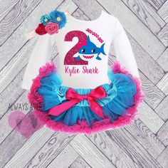 863b6098ede9 Shark 2nd Birthday Outfit Toddler Girl 2, Personalized Second Birthday Set,  Winter Two Year Old, Birthday Shirt Tutu Skirt Set Blue Pink