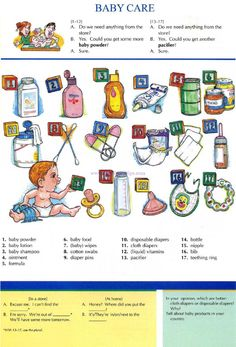 17 - BABY CARE - Pictures dictionary - English Study, explanations, free exercises, speaking, listening, grammar lessons, reading, writing, vocabulary, dictionary and teaching materials