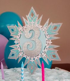 Frozen inspired Glittery Snowflake cake topper. by FiestaBella. Frozen fever, cupcake topper, elsa, snowflake, number, birthday, baby shower.