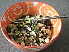 Summer Grain Salads: Quinoa Salad With Dried Tart Cherries, Mint, and Feta in Lemon-Sumac Vinaigrette