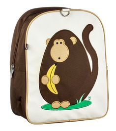Click here for more: Dieter (Monkey) Children's Backpack by Beatrix New York. Perfect for back to school, or as a gift for a Birthday or Christmas gift...Embroidered with our beloved forest creatures, these sturdy little packs hold everything a child needs for a busy day. Made from durable nylon and easy-to-clean laminated canvas. Large interior contains a smaller zipped pocket. Padded back panel and shoulder straps. For ages 2 to 5. PVC, lead, phthalate, & BPA free.