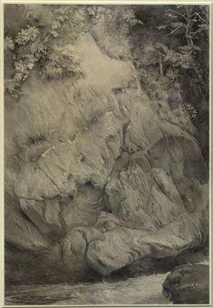 study of gneiss rock, glenfinlas john ruskin, july 1853 - february 1854 National Gallery, John Everett Millais, John Ruskin, Forest Illustration, Black And White Painting, Pre Raphaelite, Amazing Drawings, Art Database, Ink Pen Drawings