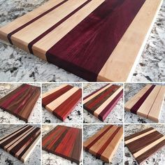 Handmade solid wood cutting boards available for purchase! All finished with food safe mineral oil and have non-slip rubber grips. Variety of woods (walnut, cherry, maple, padauk, purple heart) and sizes. https://www.etsy.com/shop/BuppWoodworks