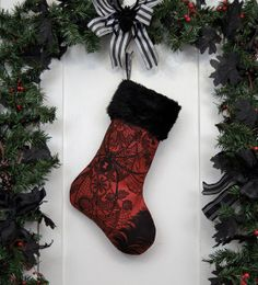 Dark Red Christmas Stocking Black Widows and by workingclasspunx, $30.00