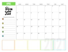 Free 2021 Monthly Goals Calendar Printable! - Printables and Inspirations Printable Calendar Template, Planner Template, Printable Cards, Printable Planner, Monthly Planner, Free Printables, Task Calendar, 2021 Calendar, Goals Planner