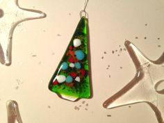 Fused Glass Christmas Tree Decoration  green by MandyTreptow