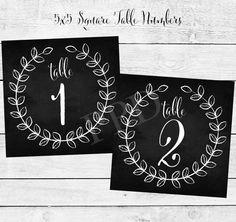 Chalkboard & Laurels Table Numbers 1-10 Printable Table Numbers - Chalkboard Table Numbers - DIY Wedding Table Numbers - Laurel Decorations by PaperPigeonDesigns on Etsy