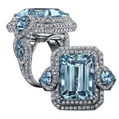 18K White Gold Emerald Cut Topaz and Multi-shape Aquamarine and Diamond Ring, design by Robert Procop.