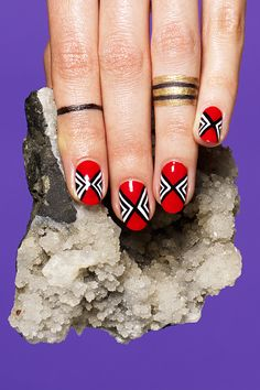 """Horoscope Nail Art With Susan Miller #refinery29  http://www.refinery29.com/2014/05/68406/susan-miller-horoscope-nail-art#slide22  Colors Passionate, bright, lipstick red. Mood Despite challenges, this sign is one that always remains cheerful and optimistic in the face of adversity, explains Miller. """"Aries is always ready to fight for what they want and believe in, and nothing will ever deter Aries from their quest. In Aries' mind, no problem is too big to overcome."""" The Design Miss Pop ..."""