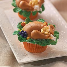 Turkey Dinner Cupcakes Recipe -Here's a turkey that even a vegetarian would love. Have a little fun on Thanksgiving and serve these right alongside the main course. —Karen Tack, Riverside, Connecticut