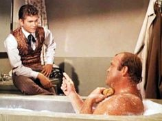 Nothing like seeing a grown man in a bath. Little Joe doesn't want to go with Hoss so he takes Hoss's clothes and hangs him out to dry.