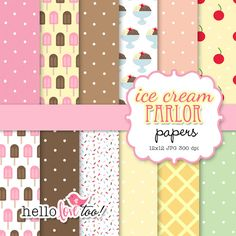 INSTANT DOWNLOAD ice cream parlor digital papers - scrapbooking, invitation design, party printables, card & stationery making. $5.00, via Etsy.