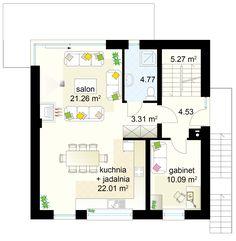 Dom na Stoku 5 T projekt - Parter 71.24 m² Floor Plans, House Styles, Living Room, Floor Plan Drawing, House Floor Plans