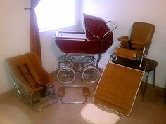 Vintage Baby Carriage / Buggy / Stroller By Wonda Chair Full Size .