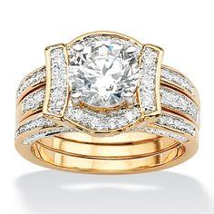 2.28 CT TW Round DiamonUltra™ Cubic Zirconia Wedding Ring Set in Tutone 14k Gold-Plated