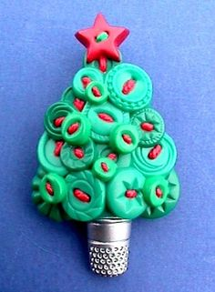 ButtonArtMuseum.com - Hallmark Pin Christmas Tree with Sewing Buttons Thimble Vtg Xmas Holiday Brooch