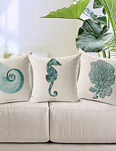 Set of 3 Modern Style Sea Animal Patterned Cotton/Linen Decorative Pillow Cover – USD $ 35.70