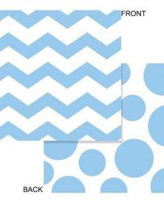 Set de 16 Servilleta a Lunares y ZigZag Azul Pastel de 33x33 cm