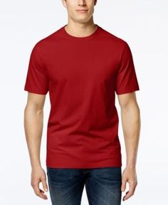 Club Room Men's Big & Tall Solid Crew-Neck T-Shirt, Only at Macy's - Red 3XLT