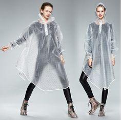 2016 adult fashion transparent polka dot cloak dot raincoat eco-friendly eva poncho bicycle rainwear Impermeables Chubasqueros
