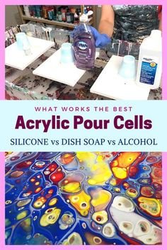 Compare Silicone to Dish Soap and to Alcohol to see what makes the best Acrylic Pour Cells. Fluid Art Tutorial by Olga Soby from Smart Art Materials Pour Painting Techniques, Acrylic Pouring Techniques, Acrylic Pouring Art, Acrylic Art, Painting Videos, Painting Lessons, Flow Painting, Drip Painting, Marble Painting