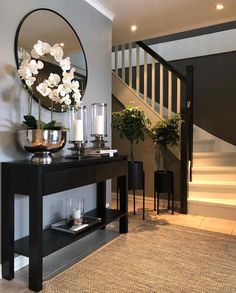 ✨ TGIF, Happy Friday✨ Here's a little hallway inspiration by   Your hallway is the first thing you always see… Home Design Decor, Home Interior Design, Interior Decorating, House Design, Hallway Decorating, Hallway Table Decor, Gray Home Decor, Console Table Decor, Decorating Ideas For The Home Living Room