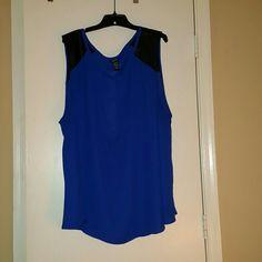 Torrid Blue Sleeveless Top, Sz 5 Torrid Blue Sheer Sleeveless Top with Faux Leather Shoulders, Sz 5 torrid Tops Blouses