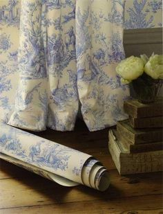 blue and white toile fabric and wall paper...love... by guida
