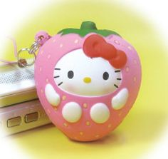 Hello Kitty strawberry squishy cell phone charm