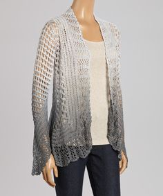 Steel Ombré Open Cardigan - Women | zulily