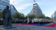 Norwegian Royal Family attend the unveiling of a statue of King Olav V at the City Hall Square on June 7, 2015 in Oslo, Norway.