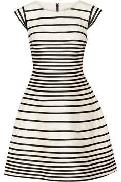 Halston Heritage|Striped cotton and silk-blend dress|NET-A-PORTER.COM