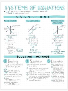 System of Equations Study Guide oder Guided Notes von BuyNomials Math Notes, Science Notes, Class Notes, School Notes, Law School, High School, Calculus Notes, Life Science, Life Hacks For School