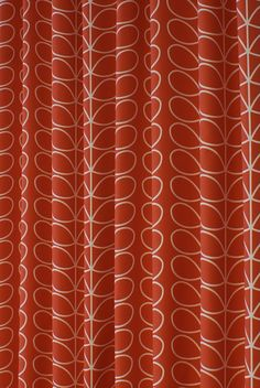 Linear Stem Tomato Curtain Fabric