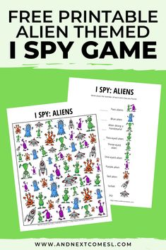 This free alien I spy printable game is perfect for kids who love aliens and outer space! They'll love searching and counting for the different aliens. Spy Games For Kids, Outside Games For Kids, I Spy Games, Space Activities For Kids, Educational Activities For Kids, Printable Activities For Kids, Science For Kids, Kid Printables, Mad Science