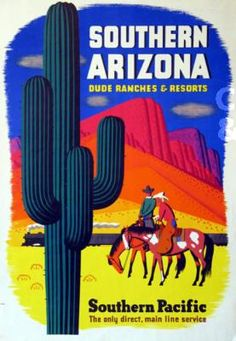 Southern-Arizona-Southern-Pacific-Vintage-U-S-Travel-Advertisement-Poster - Modern Retro Poster, All Poster, Poster Prints, Poster Vintage, National Park Posters, National Parks, Train Art, Arizona Travel, Travel And Tourism