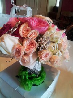 My wedding bouquet made by market street they were so pretty pic doesn't do it justice!