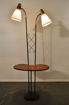 Swedish Floor Lamp With Table 1950 S