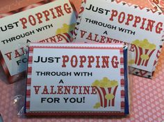 Just Popping through with a Valentine for you 10 - Microwave popcorn sleeves (popcorn not included) Made with assorted Valentine Cardstock also available in solid colors upon request Perfect for a class gift or a treat for your co-workers!! Just wrap it around a full size microwave popcorn package and tape the back. actual pattern may vary from photo Great for favors!! Die cuts are cut from premium cardstock. Looking for these in a different color, size or quantity? contact me with the…