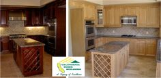 Light and Dark wood gourmet kitchens with wine rack by California Home Builders