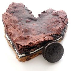 Giant Heart Slutty Brownie (Double Chocolate Chip Cookie Dough, Double Stuff Oreos, and Double Brownies)