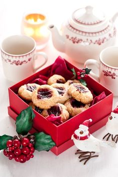 The gift of Christmas tea time can be as simple a box of cookies and pausing with a friend. Christmas Tea Party, Christmas Sweets, Christmas Kitchen, Noel Christmas, Merry Little Christmas, Christmas Goodies, Christmas Baking, Christmas Cakes, Christmas Presents