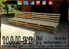 4 Meter Pallet Couch. Can comfotably sit 7-8 people. Affordable pallet wood furniture designed by you, built by us. For more info, contact 0834376919 or naileditpallets@gmail.com #patiofurniture #palletpatiofurniture #palletbenches #palletbench #palletbenchseat #nailedpalletfurnituredurban #naileditcustombuiltpalletfurniture #palletseating #custompalletfurniture #custompalletfurnituredurban