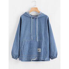 76e8d2be4a6e5 SheIn(sheinside) Drawstring Hood Kangaroo Pocket Denim Sweatshirt ( 25) ❤  liked on