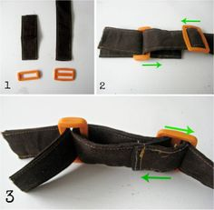 * Not English so follow the pictures for how to insert plastic buckle.   Verstelbare tassenband maken