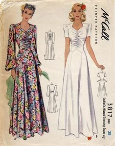 Ideas For Vintage Clothes Patterns Evening Gowns Vintage Dress Patterns, Dress Sewing Patterns, Clothing Patterns, Vintage Mode, Look Vintage, Vintage Ideas, Vintage Outfits, Vintage Dresses, Vintage Clothing