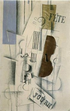 Violin and Newspaper (Musical Forms) - Georges Braque. Cubismo sintético, 1912