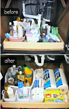 Organize under the kitchen sink - before and after pictures and under sink organizing ideas #organizing ideas #organizeundersink #kitchensinks #organize #organizecabinets #diyorganization #organization #organizing