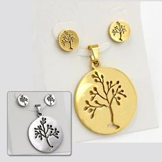 Round Cut Spring Tree Necklace Pendant With Earring Fashion Jewelry Set Perfect Birthday Gift, 18K Gold Plated & Silver Color-in Jewelry Sets from Jewelry & Accessories on Aliexpress.com | Alibaba Group