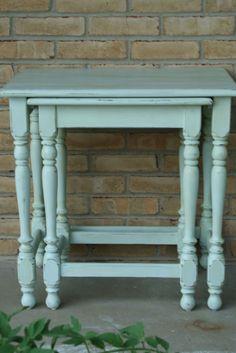 Primitive & Proper: DIY Chalk Paint Chair Pair and Nesting Tables
